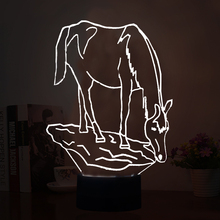 2017 New Arrival 3D LED Illusion Lamp with Animal Horse Shape LED Night Lights Multi-colors Atmosphere Table Lamp as Holiday Gif