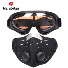 HEROBIKER Ski Glasses Sport Half Face Mask Outdoor Ski Mask Ride Bike Mask Neoprene Bicycle Cycling Motorcycle +Colorful Goggle(China)
