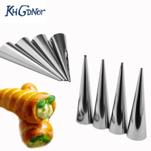 KHGDNOR 8pcs/set Stainless Steel Pastry Cream Horn Moulds Bread Croissant Mold Conical Tube Cone Baking Molds(China)