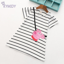 Lovely Children Clothing for Girl Baby Dresses Clothes Cotton Summer Striped Teenage Dress Girl with Short Sleeve Pink Pig Prin