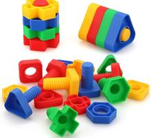 4 sets/lot Screw building blocks plastic insert blocks nut shape toys for children Educational Toys scale models(China)