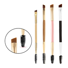pro 1PCS Makeup eyebrow brush tools bamboo handle double  + eyebrow comb and makeup brush for eyes makeup tools