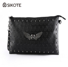 sikote Ghost hand bag Skeleton hand grip handbag, shoulder bag ipad package file package rivets tide male clutch bag