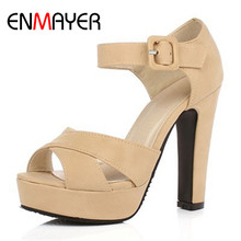 ENMAYER New Ankle Strap Summer Shoes Woman High-heeled Sandals Fashion Women Sandals Wedding Girls Pumps Sandals Big Size 34-43