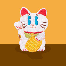 1Pcs Lucky Cat Computer Embroidery Self-adhesive Adhesive Tape Clothing Patches Dog Stickers DIY Holes Stickers Bags Decorative