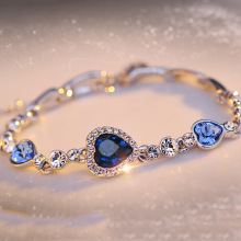 Romantic Beautiful Heart Crystal Silver Fashion Bangle Bracelets Korean Jewelry Women's Gift Wholesale(China)
