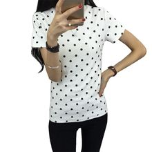 2016  Summer  Women's T-Shirt  Polka Black Dotted Clothes Shirt O-neck Short Tops Bottoming Tops