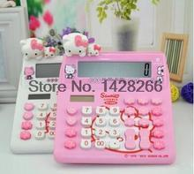 Hello Kitty Cute Calculator Office Electronic Calculating Dual Solar Battery Power Powered Desktop Calculadora Student Favorite(China)