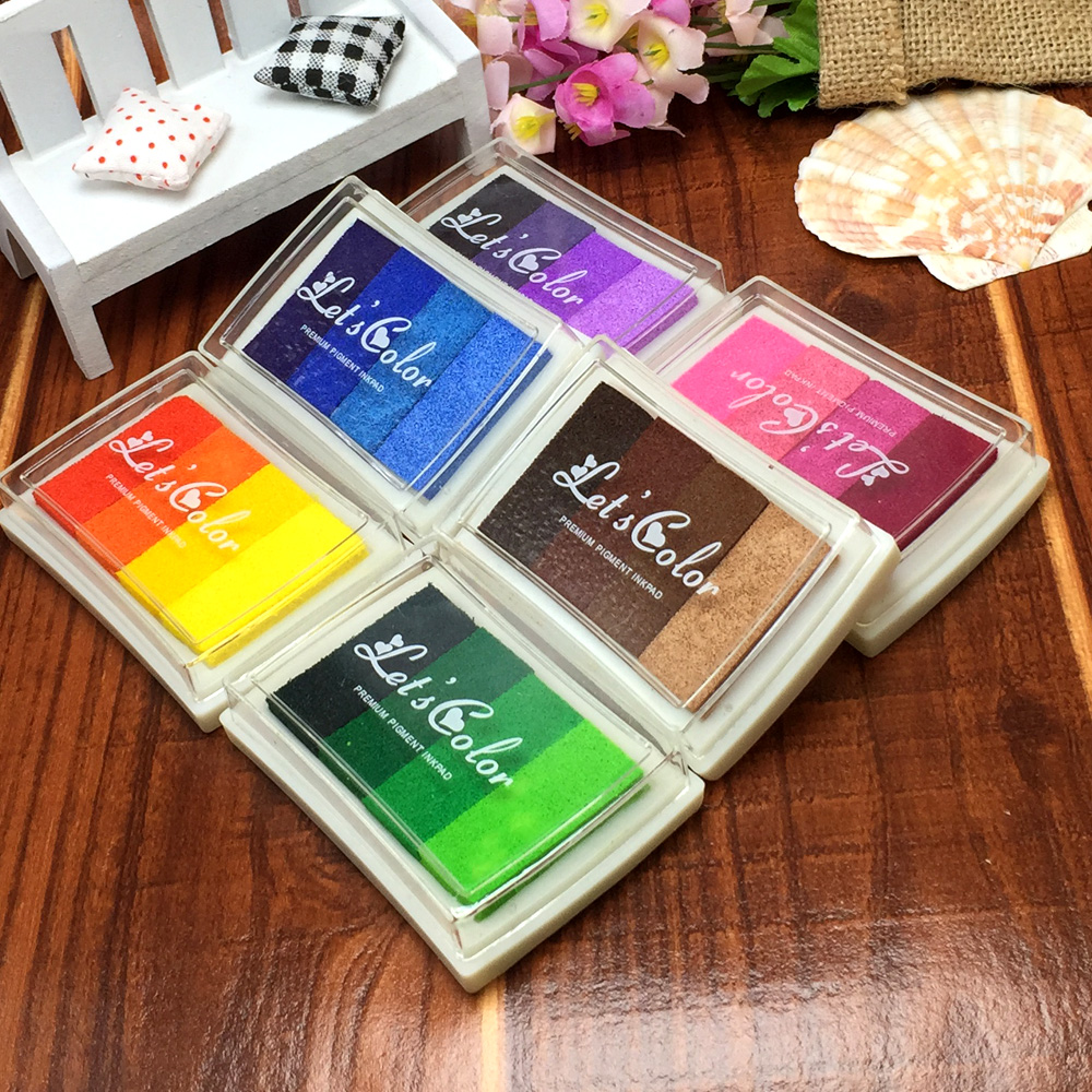 6 Sets/lot Creative DIY Oil 24 Colors Rubber Stamps Ink Pad for Vivid Scrapbook Albums Card-making Craft Fingerprint Tree<br><br>Aliexpress