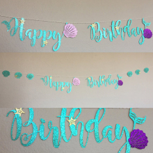 Mermaid Party Decoration Glitter Cardboard Blue Letter Garland HAPPY BIRTHDAY Purple Shell Banner Ocean Birthday Decoration(China)
