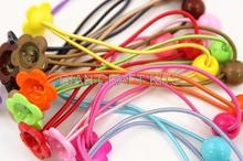 300pcs assorted colors Hair Elastic Ponytail Holder Ponytail Elastic with Plastic flower beads and glue on able pads