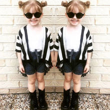 2017 New Brand Family Clothes Mother Baby Girl Kid Casual Shirt T-shirt Cover Ups Striped Tops Casual Clothes(China)