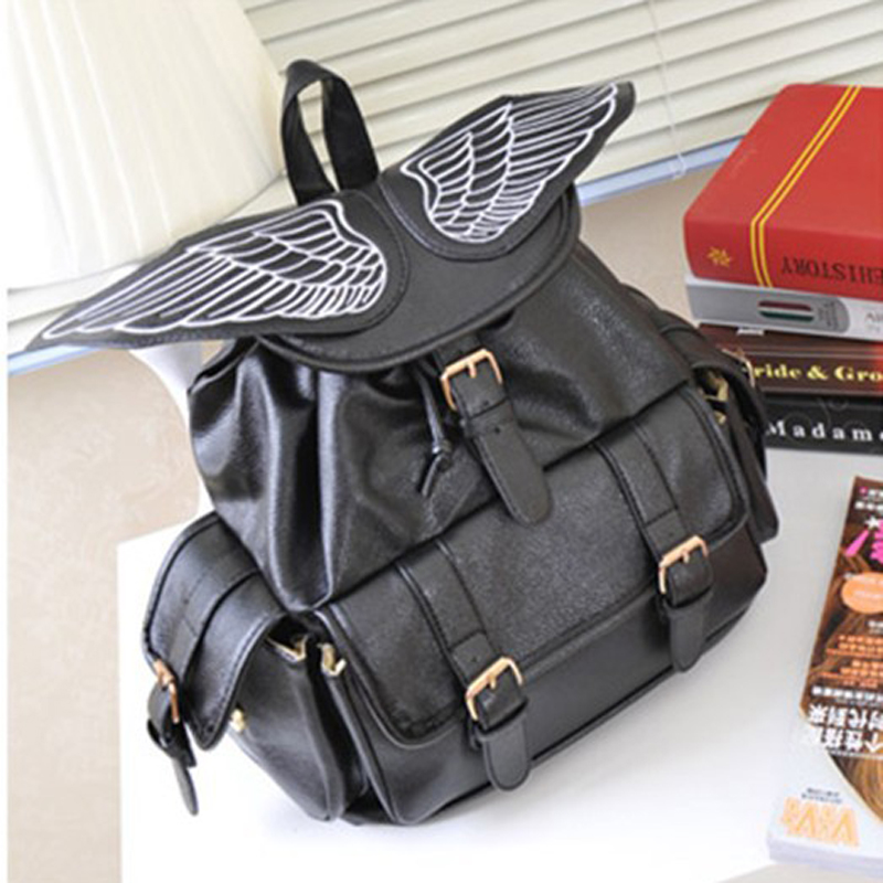IVI Women Leather Backpack School Bags PU Leather Large Capacity Angel Wings Backpack Vintage Style Bolso Mochila Feminina bags<br><br>Aliexpress
