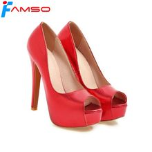 FAMSO 2018 New Shoes Women Pumps Shoes Designer Red Silver Gold Wedding Shoes Peep toe Sexy Female Party Platforms Pumps(China)