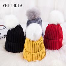 VEITHDIA winter explosions children's candy color wool cap baby thickened knit hair ball cap ear protection warm headgear(China)