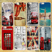 New fashion London style Big Ben Telephone Box flag hard clear Covers Cases for Apple iPhone 7 6 6s Plus SE 4s 5 5s 5c