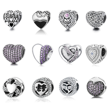 Buy 12 Style Authentic 925 Sterling Silver Heart Shape Beads Charm Fit pandora Charm Bracelet DIY Original Silver Jewelry for $13.96 in AliExpress store