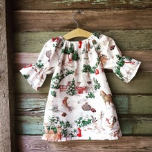 Retail Free shipping 2017 Autumn New Girl's Christmas dress house print children's baby Dress(China)