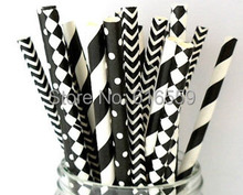 Free Shipping 100pcs Black White Paper Straws Mixed Color Party Straws,Paper Drinking Straws For Wedding Party Decoration