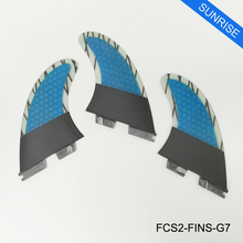 Surfing FCS2 G7 Surfboard Fins Blue Fiberglass Carbon Fibre Honeycomb Surf Fins in Surfing FCSII Fins of Good Quality