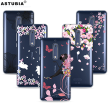 Phone Cases For Nokia 5 nokia heart TA-1008 TA-1030 Case TPU Soft Plastic Cover Transparent Case For Nokia 5 Case Butterfly Girl(China)