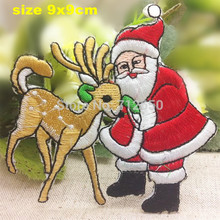 new arrival 10 pcs Father Christmas and deer Embroidered patches iron on cartoon Motif Applique embroidery accessory