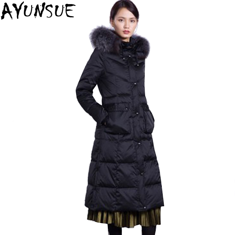 AYUNSUE Autumn Winter 2018 White Duck Down Jacket Women Loong Hooded Raccoon Fur Collar Female Slim Fit Parkas casaco feminino