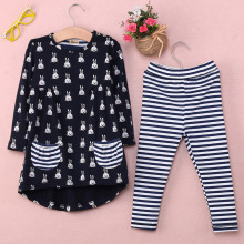 New Girls Clothes Fashion Cute Kids Cartoon Rabbit Print Pocket Dress and Striped Leggings 2pcs Children Set