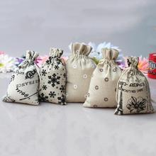 HOT Small Burlap Jute Hessian Wedding Favor Gift Bag Drawstring Pouch Sack Event & Party Supplies Style Color Random(China)