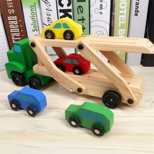 Educational Designer Vehicles Toys Baby Wooden Truck Toy Children Early Double Decker Car Carrier and 4 Cars Classic Model Toys(China)