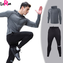 LoRun Mens' Tracksuit Compression Sport Suits Tight Training Fitness Long Sleeve Shirt Shorts Pant Gym Running Set Plus Size 3XL