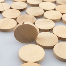 PINJEAS 100pcs 20mm Natural Flat Wood Round beads unfinished DIY wood chips Circles Wood Discs Wooden Tags Labels(China)