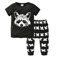 Baby Boys Girls Clothing Set Summer Cotton Short-sleeved Fox Avatar T-shirt+Pants Infant 2pcs Newborn Toddler Clothes