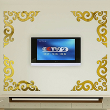 Mirror acrylic wall art wall decals three-dimensional wall stickers fashion ceiling tv background wall border(China)