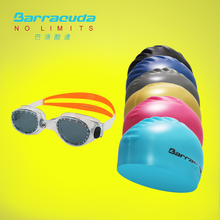 Barracuda Swim Goggles For Men Women  Sports Swimming Glass #FLITE & Flat Silicone Cap (Standard) Package(ORANGE goggles)