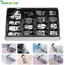 16Pcs Domestic Sewing Machine Accessories Presser Foot Feet Kit Set Hem Foot Spare Parts With Box For Brother Singer Janome(China)