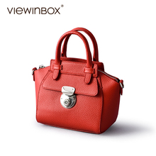 Viewinbox Famous Brands Genuine Leather Mini Handbag Women Messenger Shell Bags 100% Real Cow Leather Small Shoulder Swing Bag