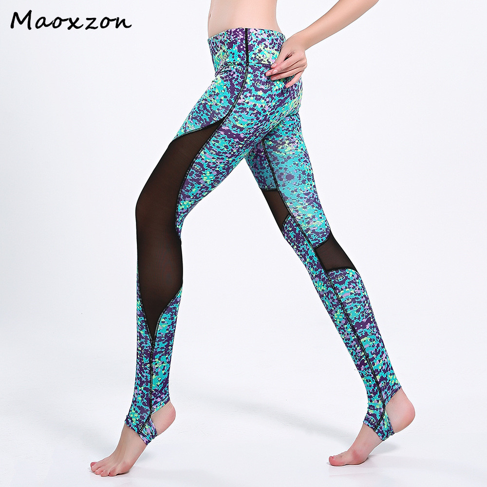 Maoxzon Women's Pattern Digital Print Sexy Fitness Slim Leggings Female Mesh Patchwork Casual Active Workout Skinny Pants XL