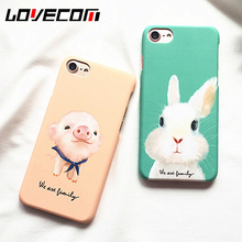 LOVECOM Hot Cartoon Pig Rabbit Frosted Hard PC Phone Back Cover Case For iPhone 5 5S SE 6 6S Plus New Capa Coque Shells