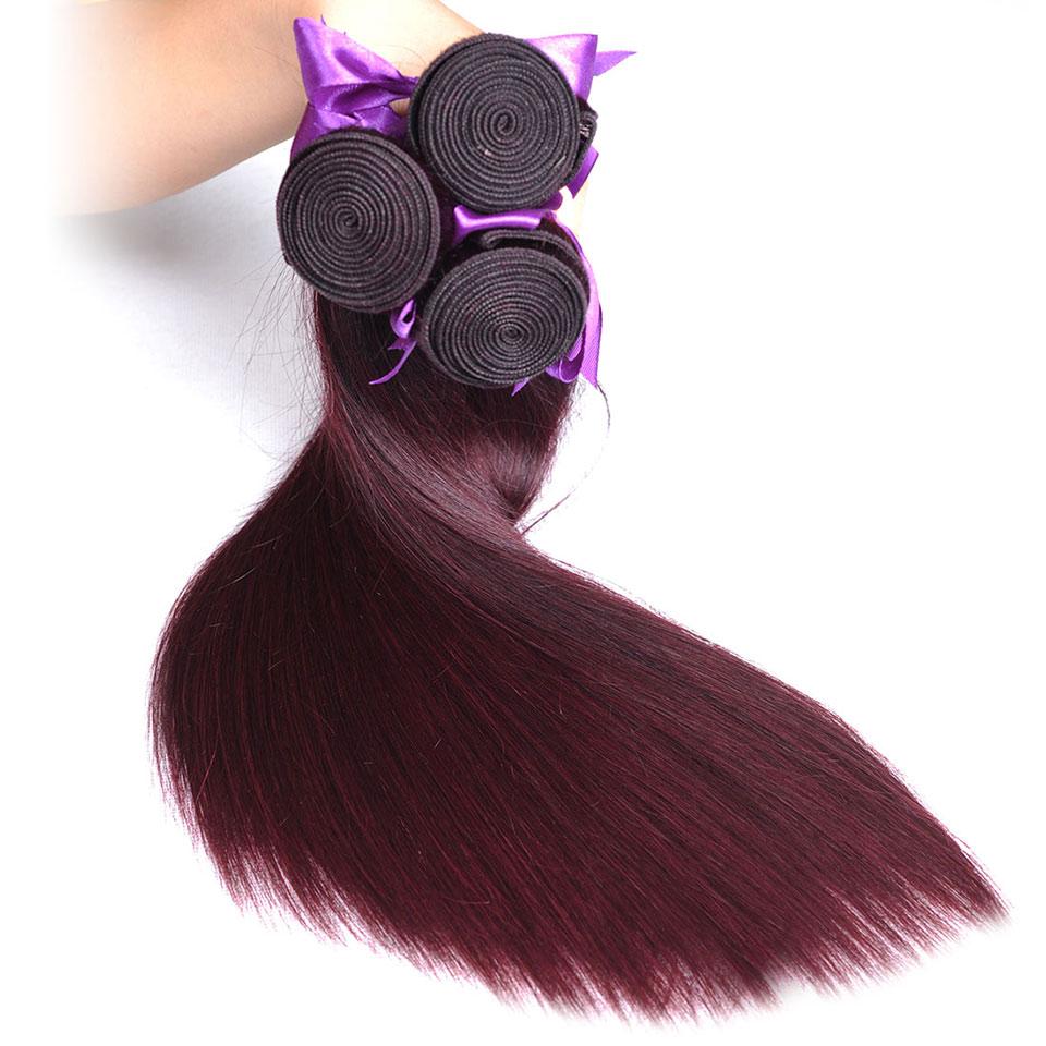 Pinshair Burgundy Straight Hair Bundles Deals Human Hair Weave 4 Bundles Non Remy Pre-colored Brazilian Hair Extensions No Smell (36)