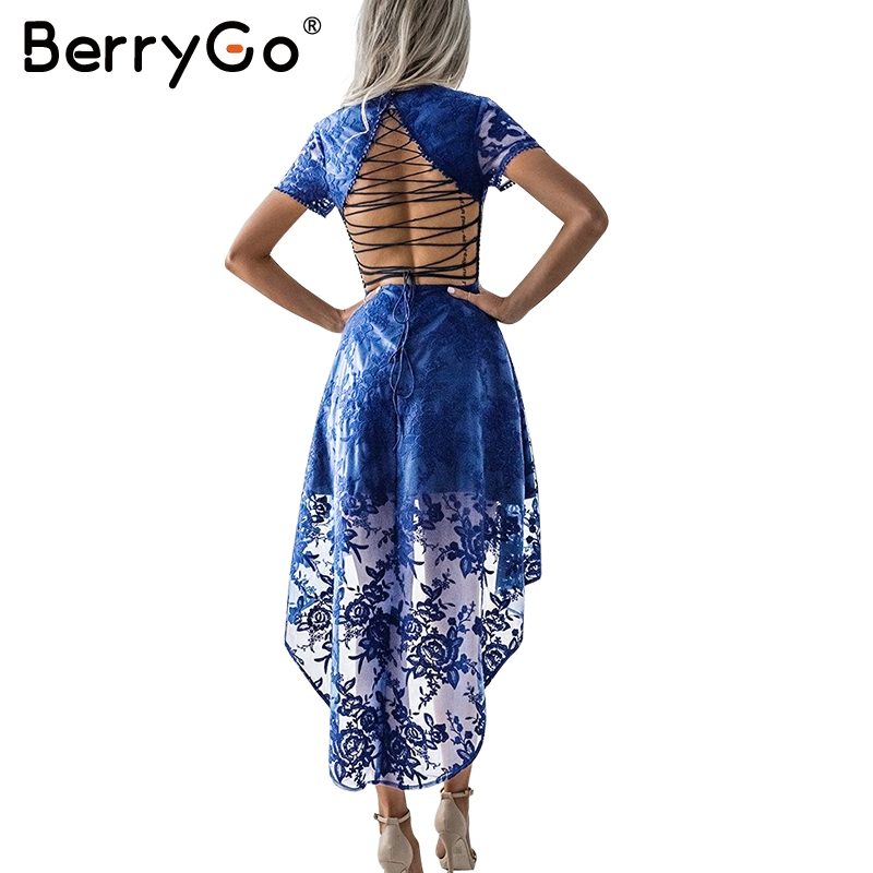 BerryGo Floral white lace dress women Vintage 2017 autumn lining back lace vestidos Front short embroidery navy sexy dresses