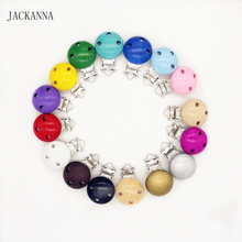 10PCS Safe Natural Wood Baby Pacifier Clips Metal Holder Wooden Round Dummy Soothers Clasps Accessories 16 Colors to Choose(China)