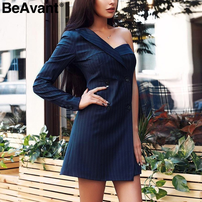 BeAvant One shoulder brief robe blazer dress women Casual blue striped dress female Button short autumn winter dress vestidos