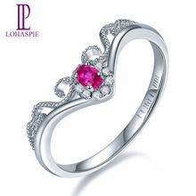 Lohaspie Solid 18K White Crown Engagement Rings Gold Natural Gemstone Ruby Fine Diamond-Jewelry For Women Online Best Buy Gift(China)