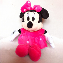 1pc 28cm Mickey Mouse And Red Rose Minnie Mouse Soft Stuffed Animals Dolls Plush Toys For Children's Gift(China)