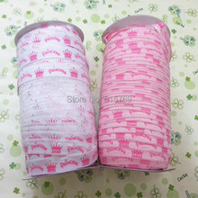 Factory Directly Crown Pattern Printed Elastic Ribbon-100yards Free shipping DIY baby headbands materials High Quality(China)