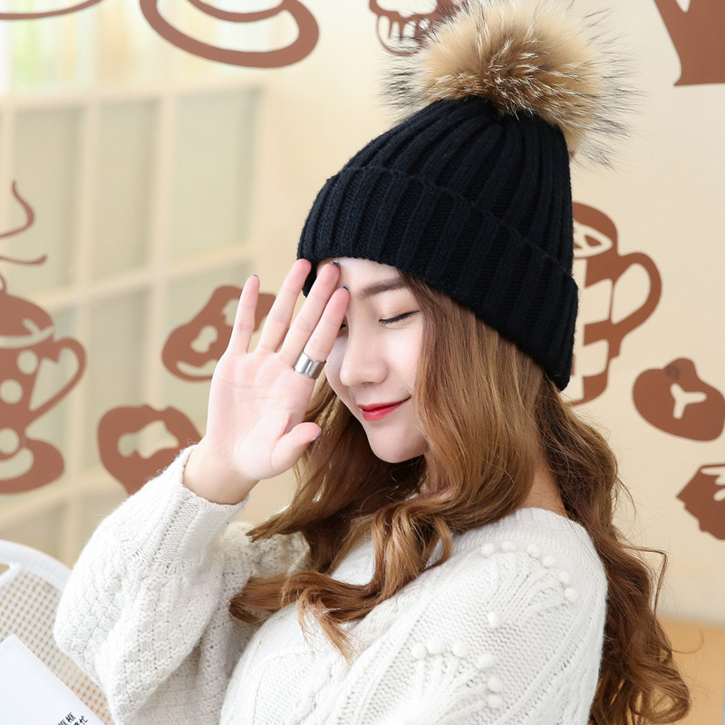 Warm Knitting Hats Autumn Winter Hat Solid Color Female Giant Fox Fur Pompom Raccoon Cap MZ011Одежда и ак�е��уары<br><br><br>Aliexpress