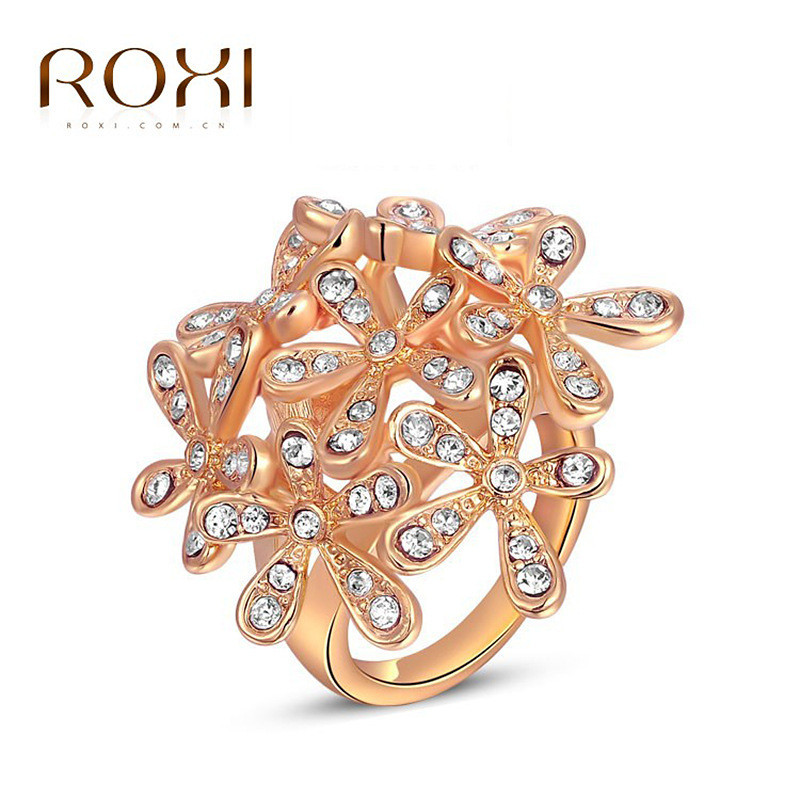 ROXI Exquisite Jewelry Maunsell Flowers Shape Ring With Crystals Zircon For Women Rings Jewelry For Party Shopping Wearing(China)