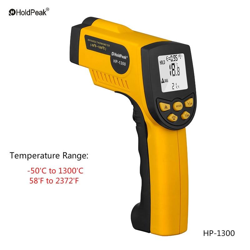 HoldPeak HP-1300 Digital Infrared Thermometer Non Contact Temperature Gun Laser Termometro Pistola Thermometer Gun Tester<br>
