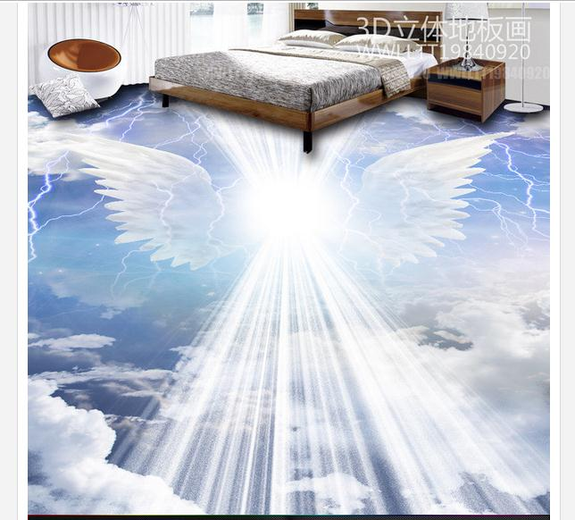 3d flooring mural wallpaper custom  PVC Floor painting wallpaper Angel wings clouds 3D floor to draw beauty wall home decoration<br>